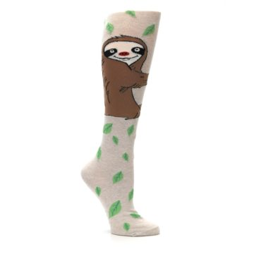 Image of Tan Brown Sloth Women's Knee High Socks (side-1-26)