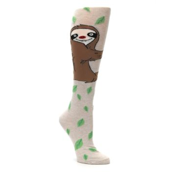 Image of Tan Brown Sloth Women's Knee High Socks (side-1-27)