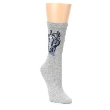 Image of Gray Horse Shilouette Women's Dress Socks (side-1-front-02)