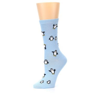 Image of Light Blue Penguins Women's Dress Socks (side-2-10)
