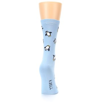 Image of Light Blue Penguins Women's Dress Socks (side-1-back-20)