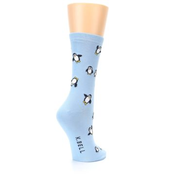 Image of Light Blue Penguins Women's Dress Socks (side-1-back-22)