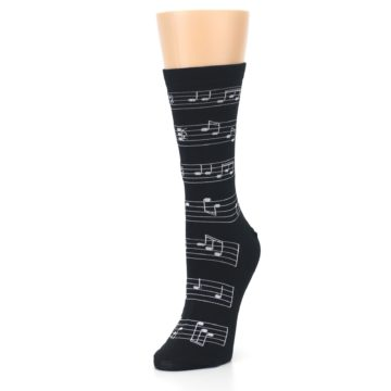 Image of Black White Music Notes Women's Dress Socks (side-2-front-08)