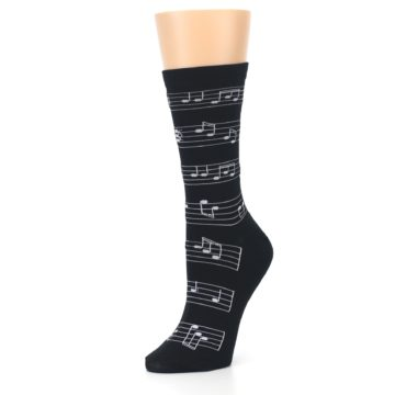 Image of Black White Music Notes Women's Dress Socks (side-2-09)