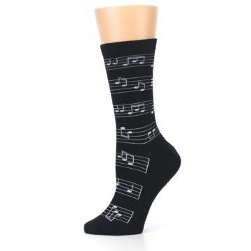 Image of Black White Music Notes Women's Dress Socks (side-2-11)