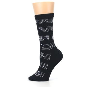 Image of Black White Music Notes Women's Dress Socks (side-2-12)