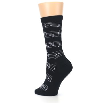 Image of Black White Music Notes Women's Dress Socks (side-2-back-14)