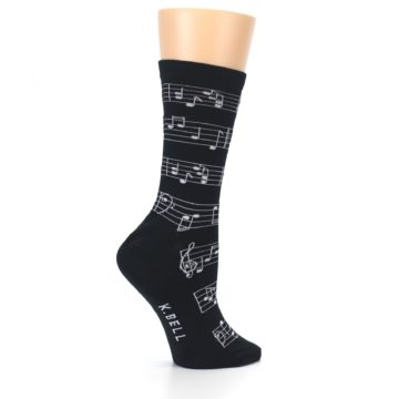 Image of Black White Music Notes Women's Dress Socks (side-1-24)