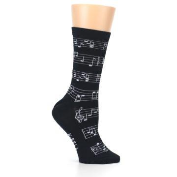Image of Black White Music Notes Women's Dress Socks (side-1-25)