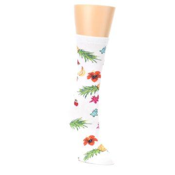 Image of White Multi Tropical Fruit Flowers Women's Dress Socks (side-1-front-02)
