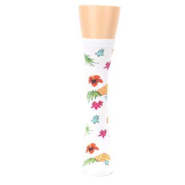 Image of White Multi Tropical Fruit Flowers Women's Dress Socks (front-05)