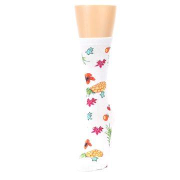 Image of White Multi Tropical Fruit Flowers Women's Dress Socks (side-2-front-07)