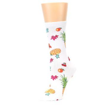 Image of White Multi Tropical Fruit Flowers Women's Dress Socks (side-2-10)