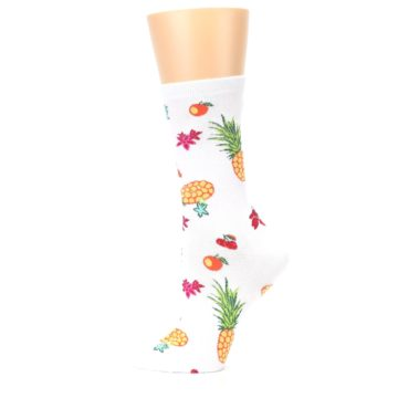 Image of White Multi Tropical Fruit Flowers Women's Dress Socks (side-2-12)
