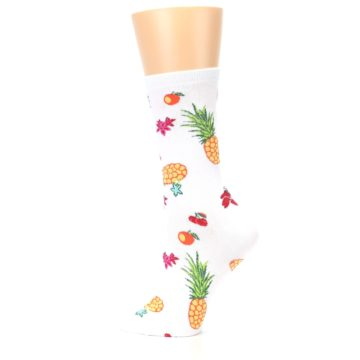 Image of White Multi Tropical Fruit Flowers Women's Dress Socks (side-2-13)