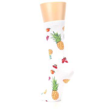 Image of White Multi Tropical Fruit Flowers Women's Dress Socks (side-2-back-15)