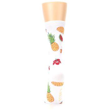 Image of White Multi Tropical Fruit Flowers Women's Dress Socks (back-18)