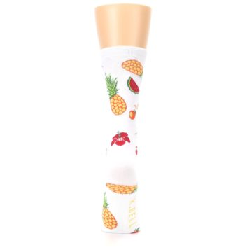 Image of White Multi Tropical Fruit Flowers Women's Dress Socks (back-19)