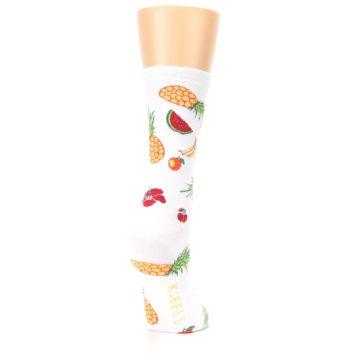 Image of White Multi Tropical Fruit Flowers Women's Dress Socks (side-1-back-21)