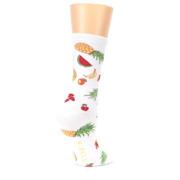 Image of White Multi Tropical Fruit Flowers Women's Dress Socks (side-1-23)