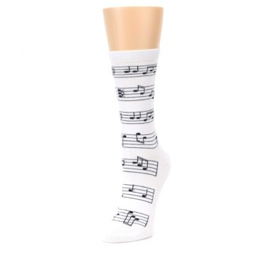 Image of White Black Music Notes Women's Dress Socks (side-2-front-08)