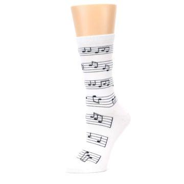 Image of White Black Music Notes Women's Dress Socks (side-2-10)