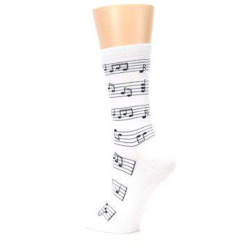 Image of White Black Music Notes Women's Dress Socks (side-2-back-14)