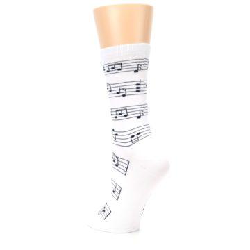 Image of White Black Music Notes Women's Dress Socks (side-2-back-15)