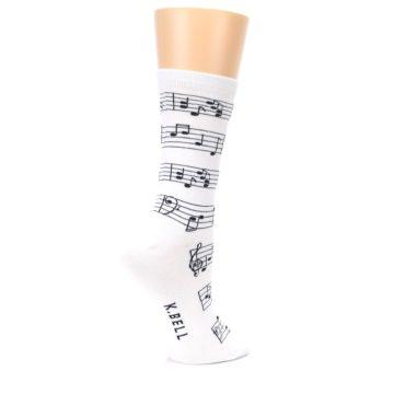 Image of White Black Music Notes Women's Dress Socks (side-1-23)