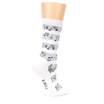 Image of White Black Music Notes Women's Dress Socks (side-1-24)