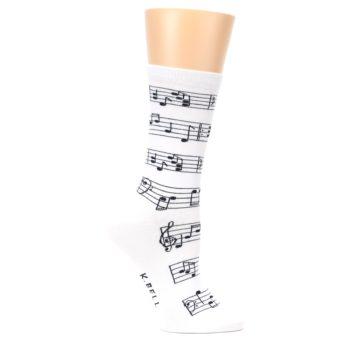 Image of White Black Music Notes Women's Dress Socks (side-1-25)