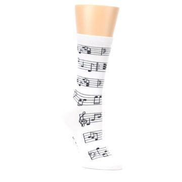Image of White Black Music Notes Women's Dress Socks (side-1-27)