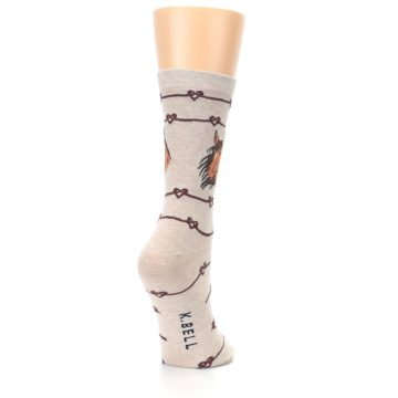 Image of Tan Love Knot Horse Women's Dress Socks (side-1-back-21)
