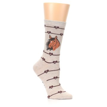 Image of Tan Love Knot Horse Women's Dress Socks (side-1-26)