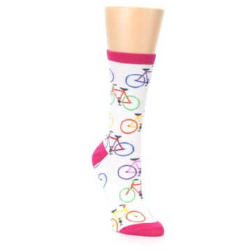 Image of White Multi Bicycle Women's Dress Socks (side-1-front-02)