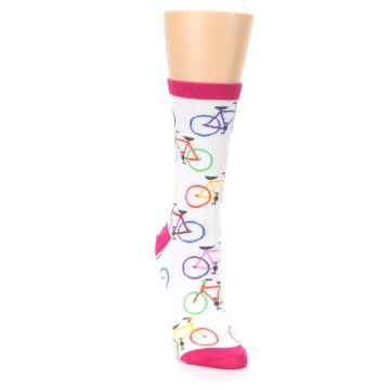 Image of White Multi Bicycle Women's Dress Socks (side-1-front-03)