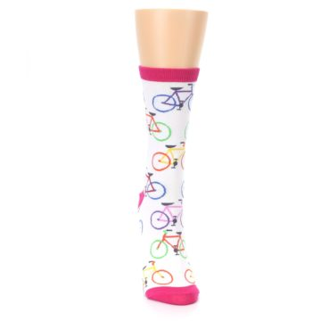 Image of White Multi Bicycle Women's Dress Socks (front-04)