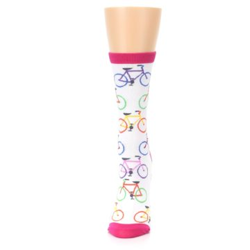 Image of White Multi Bicycle Women's Dress Socks (side-2-front-06)
