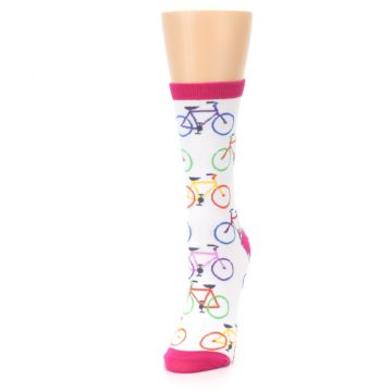 Image of White Multi Bicycle Women's Dress Socks (side-2-front-07)