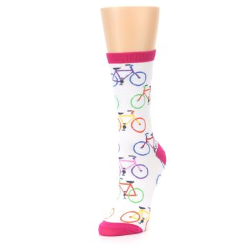 Image of White Multi Bicycle Women's Dress Socks (side-2-front-08)