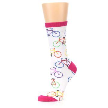 Image of White Multi Bicycle Women's Dress Socks (side-2-10)