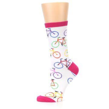 Image of White Multi Bicycle Women's Dress Socks (side-2-11)