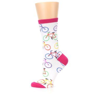 Image of White Multi Bicycle Women's Dress Socks (side-2-12)