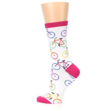Image of White Multi Bicycle Women's Dress Socks (side-2-13)