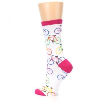 Image of White Multi Bicycle Women's Dress Socks (side-2-back-14)