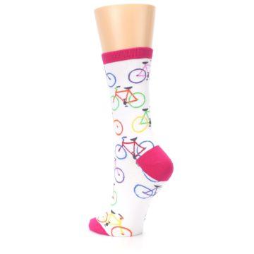 Image of White Multi Bicycle Women's Dress Socks (side-2-back-15)