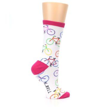Image of White Multi Bicycle Women's Dress Socks (side-1-24)