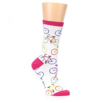 Image of White Multi Bicycle Women's Dress Socks (side-1-26)