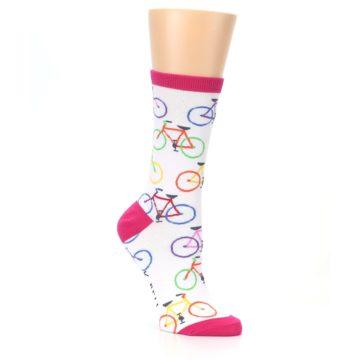 Image of White Multi Bicycle Women's Dress Socks (side-1-27)