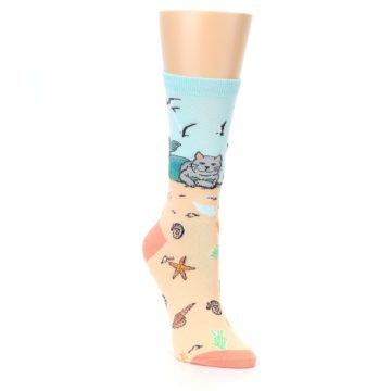 Image of Tan Blue Beach Cat Mermaid Women's Dress Socks (side-1-front-02)